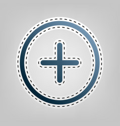 Positive symbol plus sign blue icon with vector