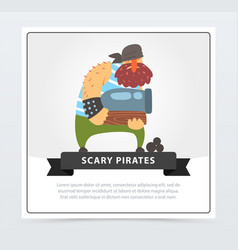 Powerful muscular pirate bearded filibuster vector