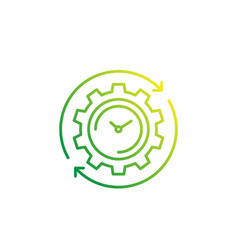 Production cycle icon with cogwheel and watch vector