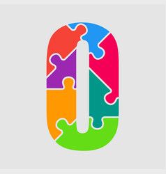 puzzle jigsaw figure or number zero vector image