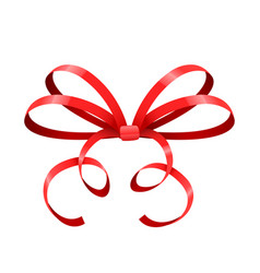Red bow thin tied ribbon vector