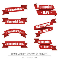 ribbon memorial day set on isolated white vector image