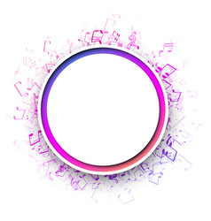 round musical background with colorful notes vector image