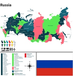 Russian map with named regions vector