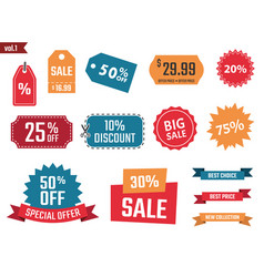 Sale banners set discount coupons and labels vector