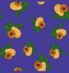 Seamless pattern papaya on purple background vector
