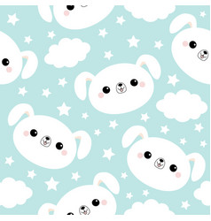 Seamless pattern white dog face cloud star vector