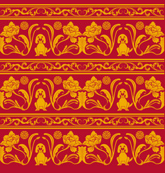 Seamless pattern with flowers and puppy chinese vector