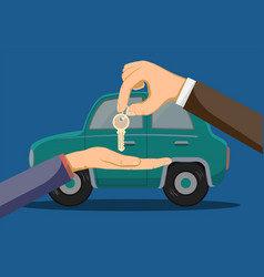 Seller car dealership gives buyer key vector