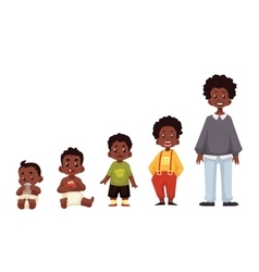Set of black boys from newborn to infant toddler vector image