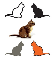 Set of cats are sitting isolated vector