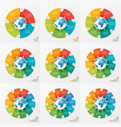 set of circle chart infographic designs with globe vector image