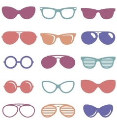 Set of colorful retro sunglasses icons vector