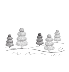 Set of Dreawn Christmas Trees vector image vector image