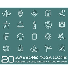 Set of Yoga Zen Sport Elements and Fitness Healthy vector image