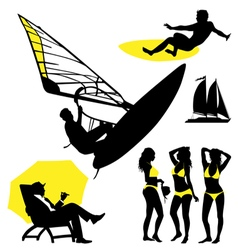 Several persons are on the beach in a summertim vector image