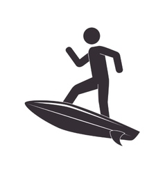 Silhouette surfer surfing table sport vector