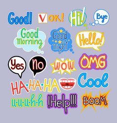 sticker set chat message label icon collection vector image