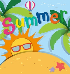 Summer theme with sand and sun vector image