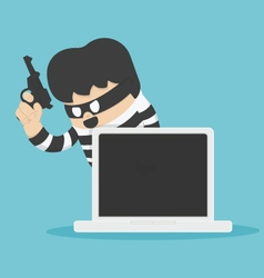 Thief with Computer vector image