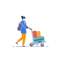 tourist woman passenger person in mask vector image