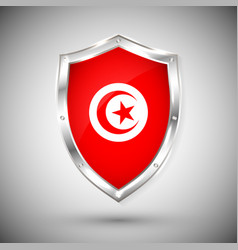 tunisia flag on metal shiny shield collection vector image