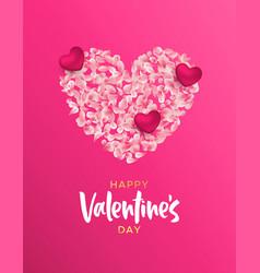 valentines day pink flower petal heart shape card vector image