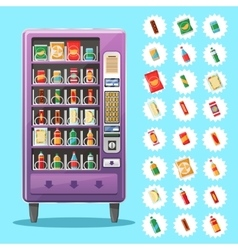 Vending machine with snacks and drinks vector image