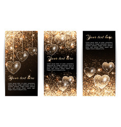 vertical banners with hearts vector image