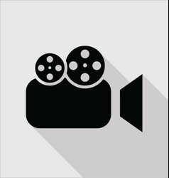 video camera flat icon isolated on gray vector image