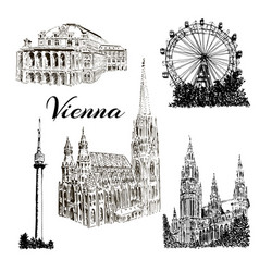 Vienna - hand drawn bildings collection vector