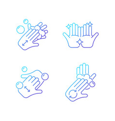 Washing hands instruction gradient linear icons vector