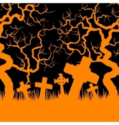 Orange cemetery and trees vector image vector image