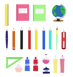 set of colorful school supplies in flat style vector image