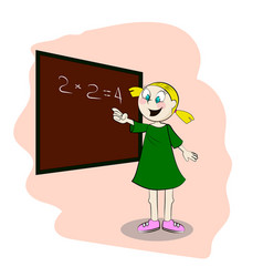 student standing in front of a blackboard vector image