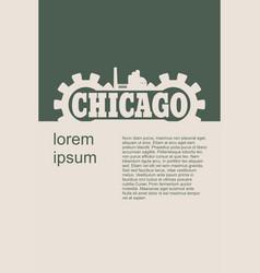 chicago word build in gear vector image vector image