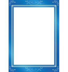 Decorative blue frame with white center vector