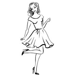 Fashion sketch of happy woman vector image vector image