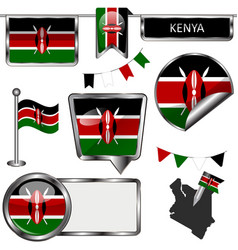 glossy icons with flag of kenya vector image vector image