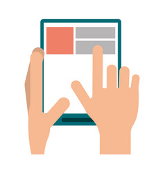 hand touch tablet web page vector image