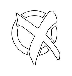 silhouette check mark x flat icon vector image