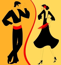 silhouette couple of flamenco dancer vector image vector image