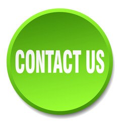 Contact us green round flat isolated push button vector