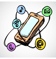 Doodle smartphone concept vector image vector image