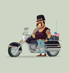 fat old happy smiling man biker character standing vector image vector image