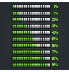 Green Progress Bar Set 5-95 vector image vector image