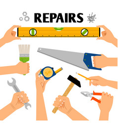 home repair tools in hands vector image vector image