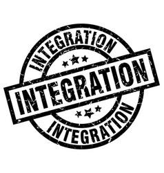 Integration round grunge black stamp vector