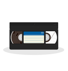 retro video cassette with blue and white sticker vector image vector image