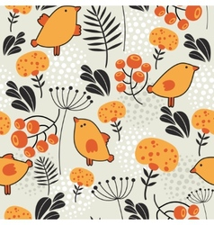 Seamless pattern with orange birds vector image vector image